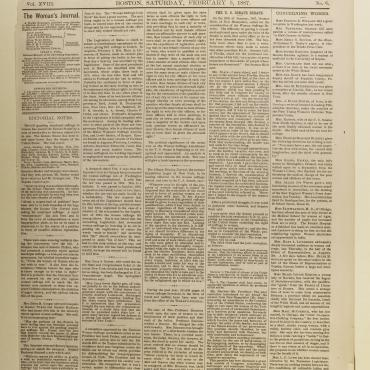 The Woman's Journal' Front Page, Feb. 5, 1887