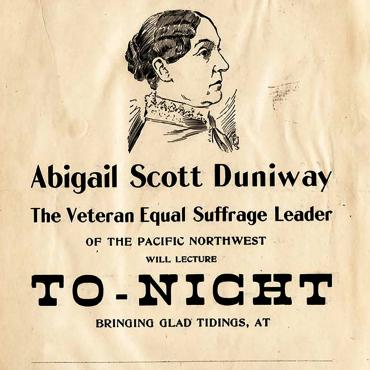 Advertisement for Talk by Suffragist Abigail Scott Duniway