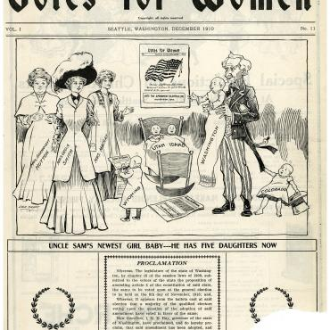 Political Cartoon on Women's Suffrage Victory in Washington State, 1910