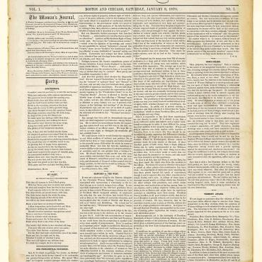 Front Page of the First Issue of 'The Woman's Journal,' Jan. 8, 1870