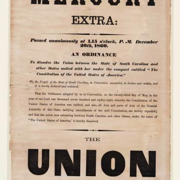 South Carolina Announces Secession,1860