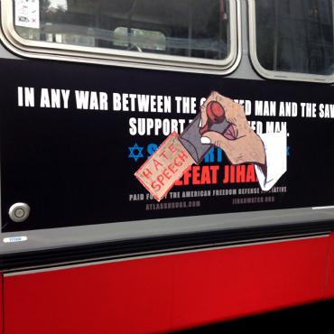 Defaced Anti-Muslim Ad on San Francisco Bus