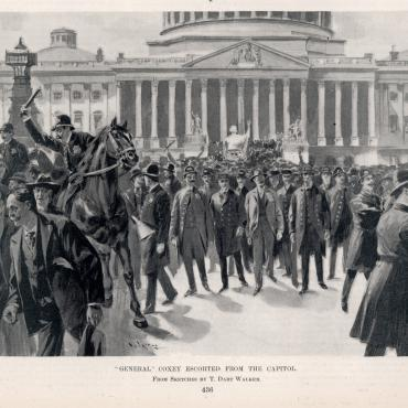 'Harper's Weekly' Illustration of Coxey's Men at the Capitol