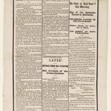 Lincoln Assassination Extra Edition, April 15, 1865