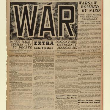 News Coverage of Outbreak of World War II, Sept. 1, 1939