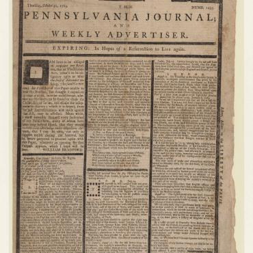 "The Pennsylvania Journal published a ""tombstone edition"" to protest the Stamp Act, which was to go into effect a day later on Nov. 1, 1765. This legislation required colonists to pay a tax on printed documents."