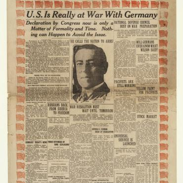 Front Page Blares News that U.S. Has Entered World War I