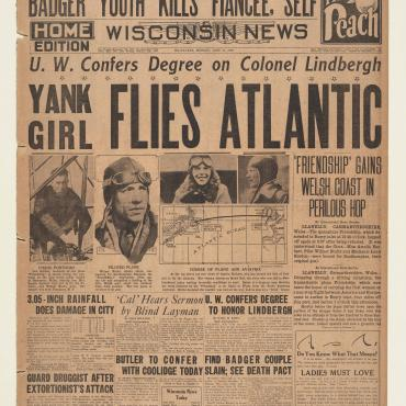 "The News uses the monikers ""Yank Girl"" and ""aviatrix"" for Earhart."