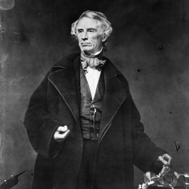 This portrait from circa 1850 shows Samuel Morse posing with his famous telegraph. Mathew Brady, best known for his portraits and Civil War images, took the photograph.