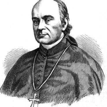 This woodcut of Bishop Purcell was originally published in the Old and New World, an illustrated Catholic monthly magazine, in 1870.