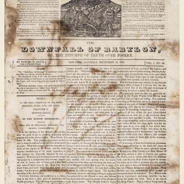 Newspaper Criticizes Catholic Doctrine, 1835