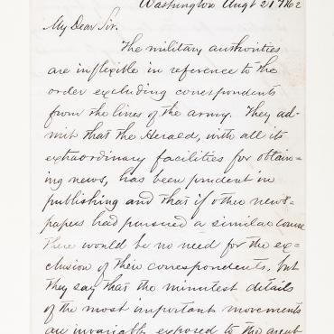 1862 Letter Explains Military Restrictions on Reporting