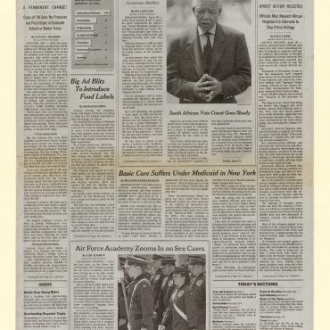 This New York Times front page documents South Africa's first fully democratic election and the massacres in Rwanda.