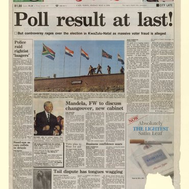 This South African newspaper announces the results of the country's first free elections, which made Nelson Mandela its first black president.