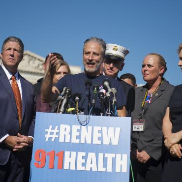 Jon Stewart Rallies With FDNY