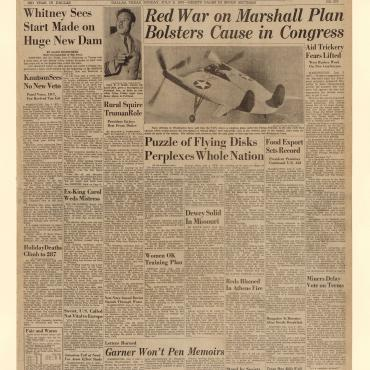 This July 6, 1947, issue of the Dallas Morning News reports that Soviet opposition to the Marshall Plan has made the proposal more popular in the United States.