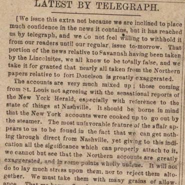 The Wilmington Journal criticizes Northern newspapers for exaggerating Confederate losses and spreading false reports abroad.