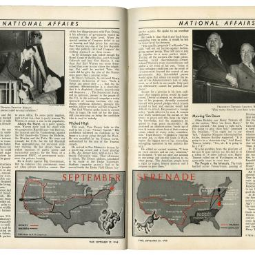 Time magazine recounts the transcontinental journeys of Truman and Dewey and their respective running mates, Alben Barkley and Earl Warren, in September 1948