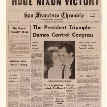 """Despite this drubbing of Senator George McGovern, the Democratic challenger, the voters split their tickets in record numbers to leave the Democrats in control of both houses of Congress,"" the San Francisco Chronicle reported on Nov. 8, 1972."