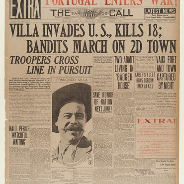 The San Francisco Call reports on the tense military situation as U.S. troops pursued Pancho Villa into Mexico following the murder of 18 Americans.