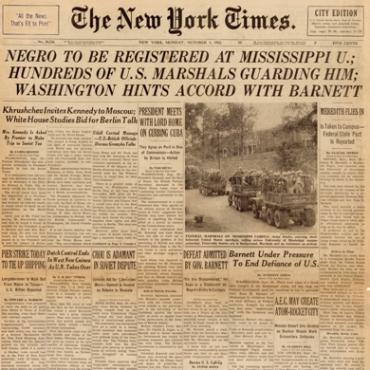 Coverage of the James Meredith crisis dominates the front page, with four different articles describing Meredith's arrival and G. Barnett's responses.