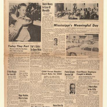One article describes the scene at the University of Misssisippi before James Meredith arrived for his first registration attempt on Sept. 20, 1962.