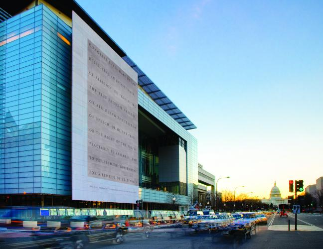Front of Newseum on Pennsylvania Ave.