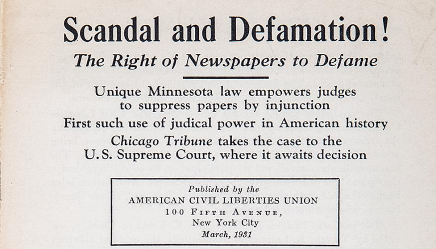 ACLU Supports 'The Right of Newspapers to Defame'
