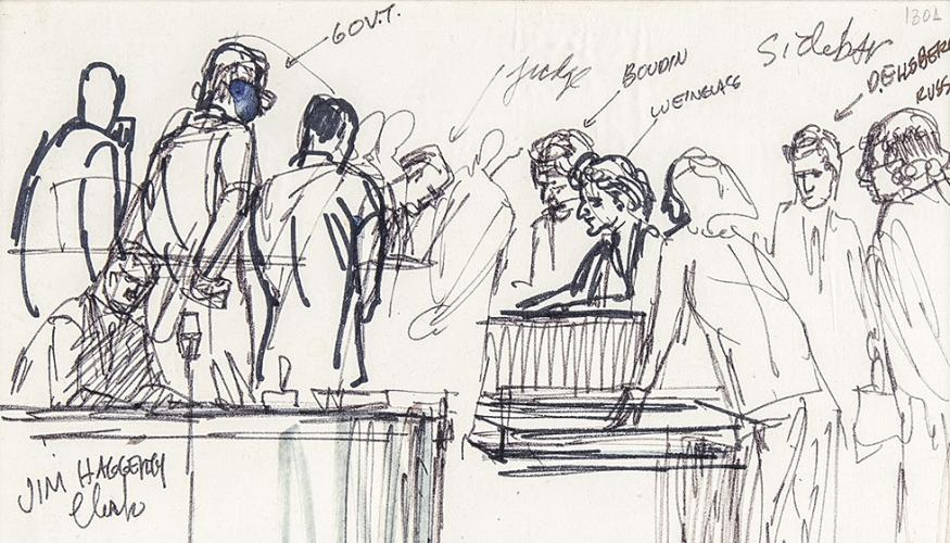 Courtroom Sketch Captures Trial for Pentagon Papers Leak