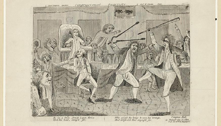 Three of the figures in the etching are identified by numbered captions in the margins. At the time of this fight, Congress met in Congress Hall in Philadelphia.