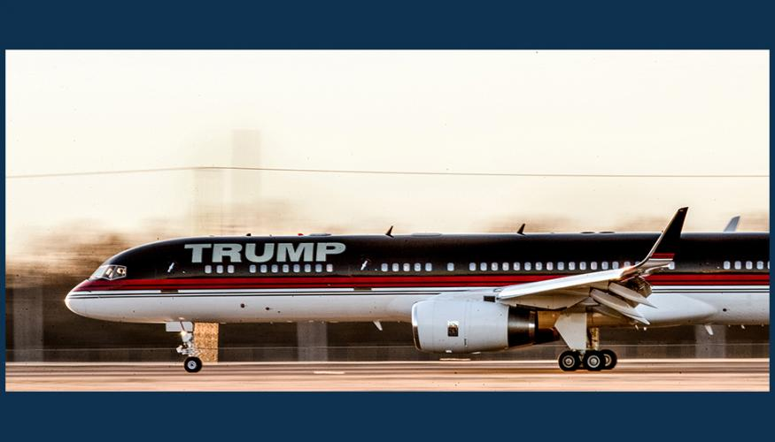 The branded Trump jet lets the billionaire businessman make an impression on his audience even before he says a word.
